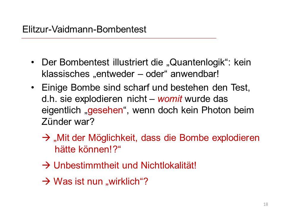 """Elitzur-Vaidmann-Bombentest Der Bombentest illustriert die """"Quantenlogik"""": kein klassisches """"entweder – oder"""" anwendbar! Einige Bombe sind scharf und"""