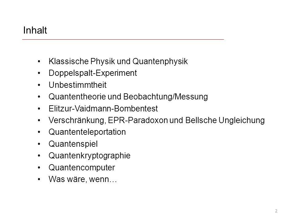 Inhalt Klassische Physik und Quantenphysik Doppelspalt-Experiment Unbestimmtheit Quantentheorie und Beobachtung/Messung Elitzur-Vaidmann-Bombentest Ve