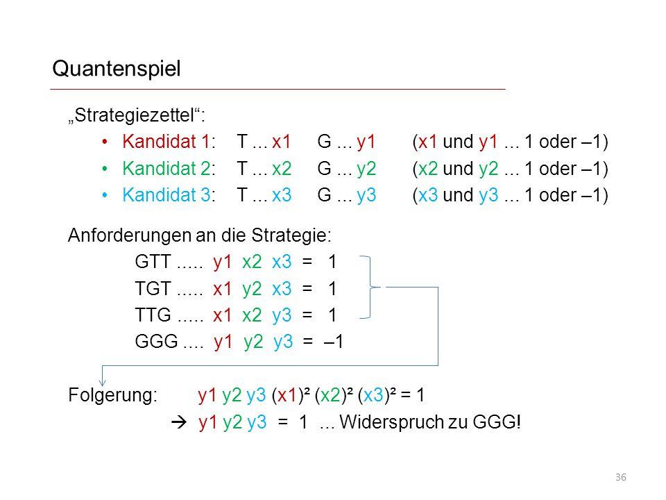"Quantenspiel ""Strategiezettel"": Kandidat 1: T... x1 G... y1 (x1 und y1... 1 oder –1) Kandidat 2: T... x2 G... y2 (x2 und y2... 1 oder –1) Kandidat 3:"