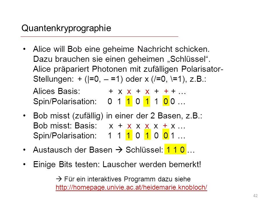 Quantenkryprographie  Für ein interaktives Programm dazu siehe http://homepage.univie.ac.at/heidemarie.knobloch/ http://homepage.univie.ac.at/heidema