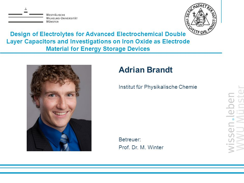 Name: der Referentin / des Referenten Design of Electrolytes for Advanced Electrochemical Double Layer Capacitors and Investigations on Iron Oxide as Electrode Material for Energy Storage Devices Adrian Brandt Institut für Physikalische Chemie Betreuer: Prof.
