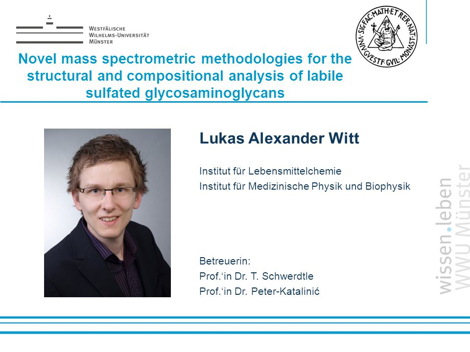 Name: der Referentin / des Referenten Novel mass spectrometric methodologies for the structural and compositional analysis of labile sulfated glycosaminoglycans Lukas Alexander Witt Institut für Lebensmittelchemie Institut für Medizinische Physik und Biophysik Betreuerin: Prof.'in Dr.