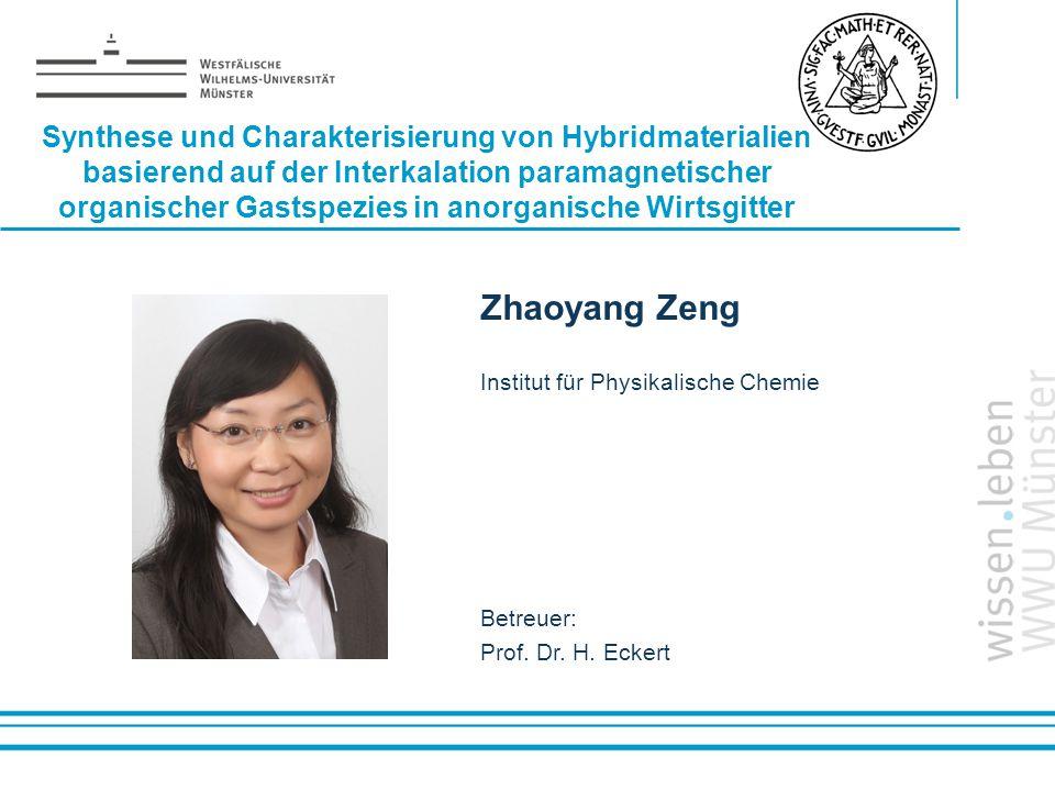 Name: der Referentin / des Referenten Synthese und Charakterisierung von Hybridmaterialien basierend auf der Interkalation paramagnetischer organische