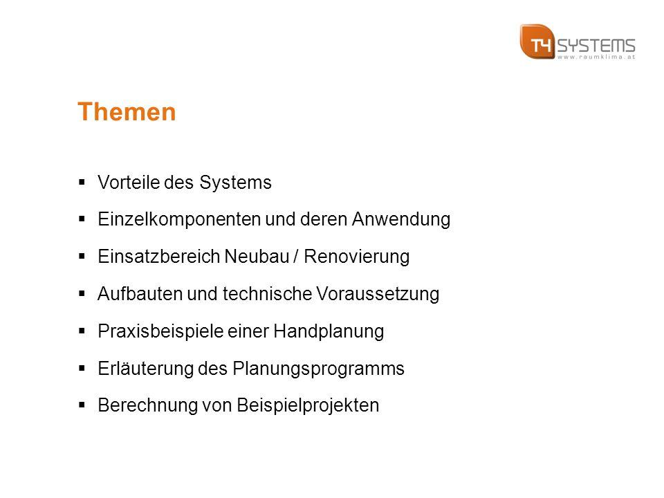Themen  Vorteile des Systems  Einzelkomponenten und deren Anwendung  Einsatzbereich Neubau / Renovierung  Aufbauten und technische Voraussetzung  Praxisbeispiele einer Handplanung  Erläuterung des Planungsprogramms  Berechnung von Beispielprojekten