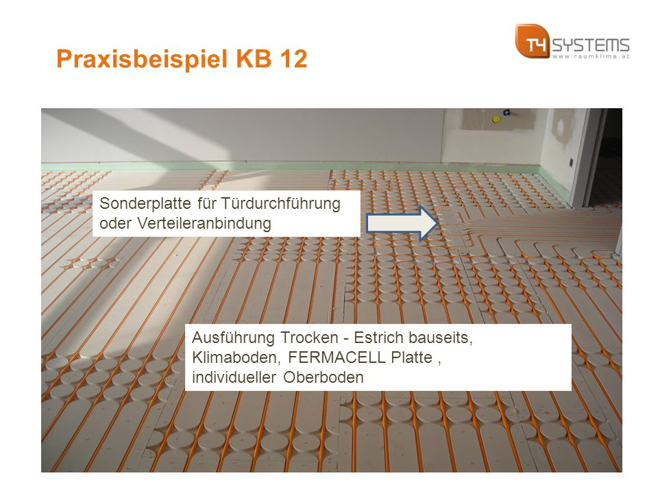 Ausführung Trocken - Estrich bauseits, Klimaboden, FERMACELL Platte, individueller Oberboden Sonderplatte für Türdurchführung oder Verteileranbindung Praxisbeispiel KB 12