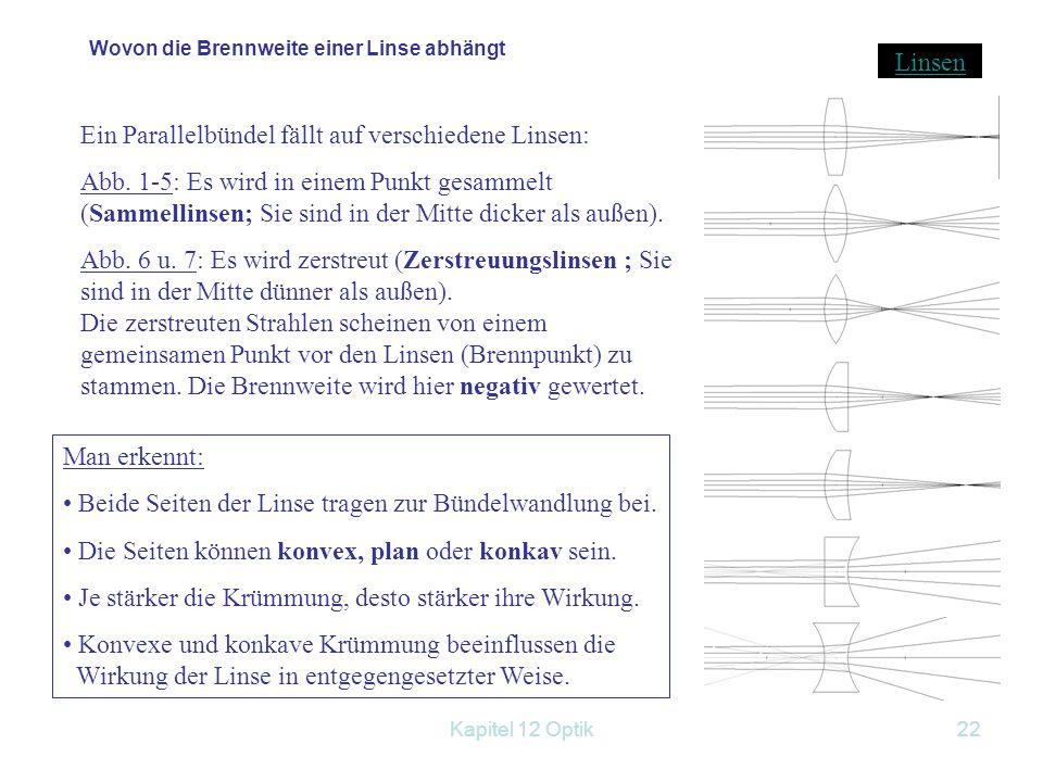 Kapitel 12 Optik21 12.2.2 Optische Linsen Einteilung: Sammellinsen oder Konvexlinsen (in der Mitte dicker als am Rand) Zerstreuungslinsen oder Konkavl