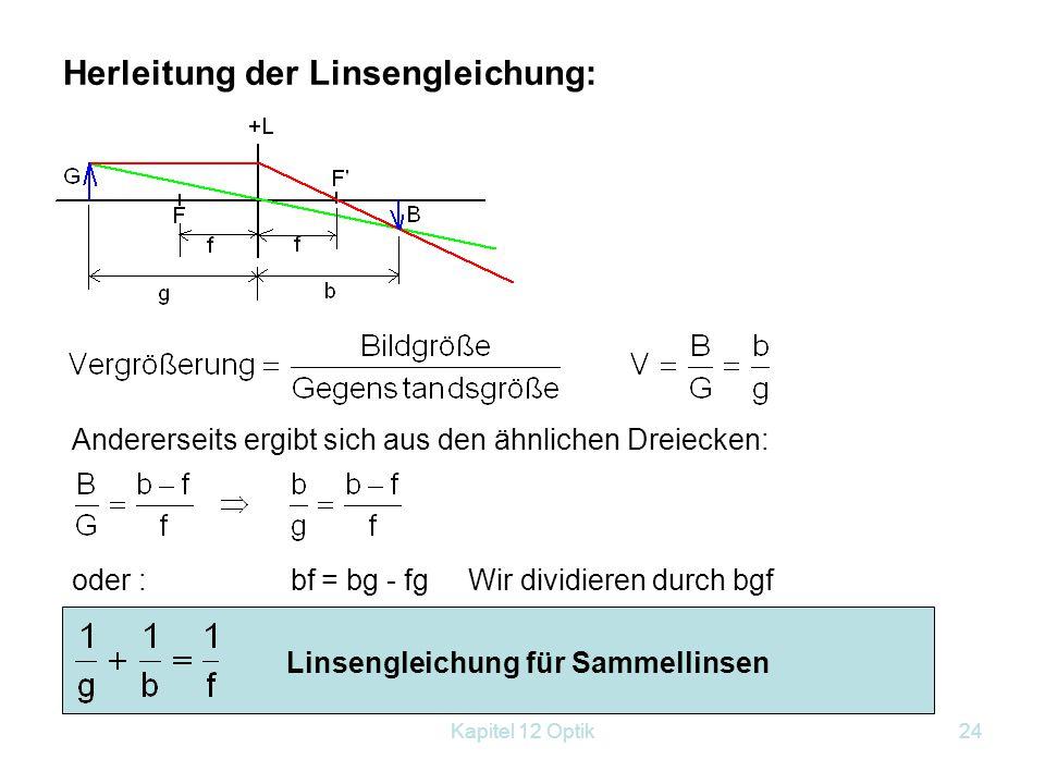 Kapitel 12 Optik23 Bildkonstruktion für eine Sammellinse: Parallelstrahl wird zu Brennstrahl gebrochen. Mittelpunktstrahl geht ungebrochen durch b...B