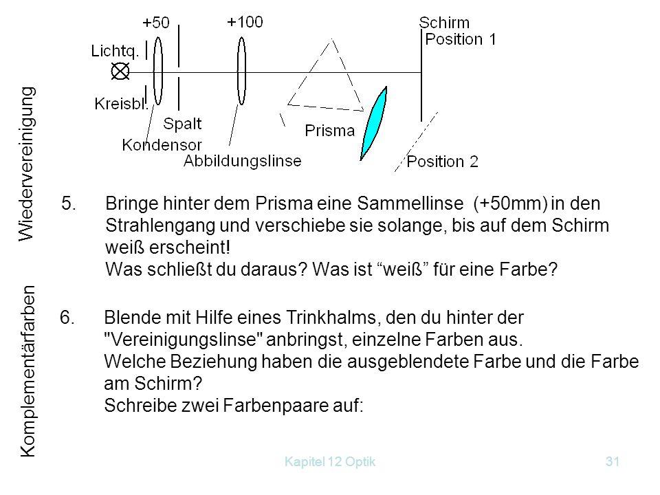 Kapitel 12 Optik30 Führe folgende Aufgaben durch: 1.Bilde die Glühwendel der Lichtquelle mit dem Kondensor auf den Ort ab, wo du später das Prisma hin