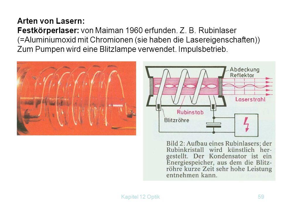 Kapitel 12 Optik58 gleicher Phase (kohärentes Licht) gleicher Frequenz (monochromatisch), sehr stark gebündelt, weil parallel durch die Reflexion. pol