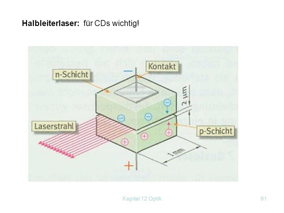 Kapitel 12 Optik60 Gaslaser: z. B. He-Ne - Laser ( = 633 nm) (Ne ist hier das Lasermaterial, Helium sorgt für das Pumpen). Er ist ein kontinuierlich a