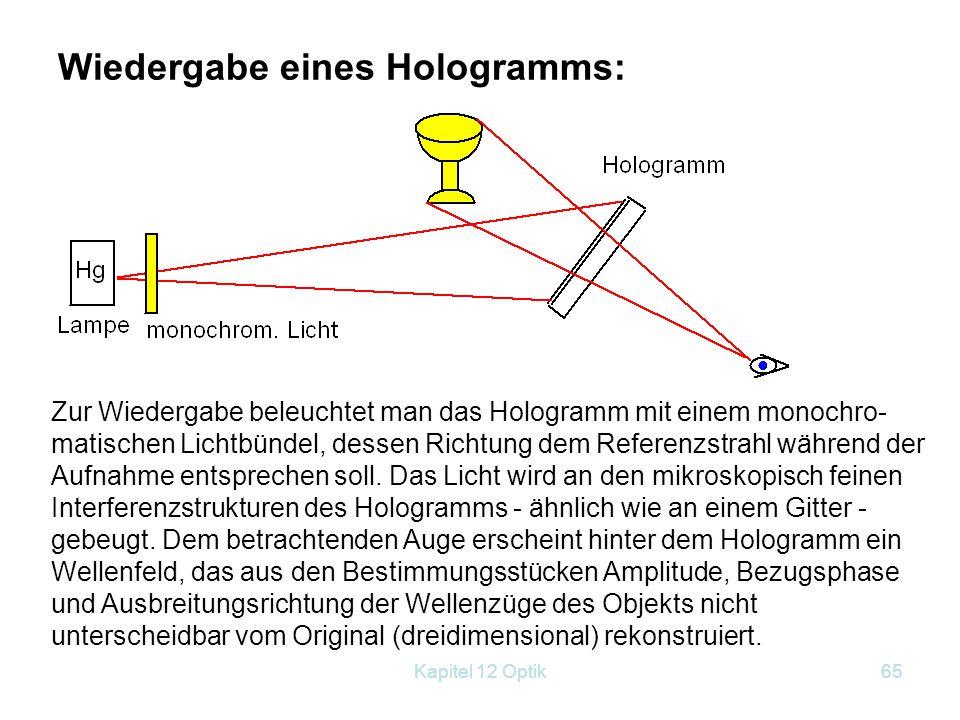 Kapitel 12 Optik64 Aufnahme eines Hologramms: Die Holografie ist keine Fotografie des Objekts. Bei der Beleuchtung mit kohärentem (!!) Licht werden di