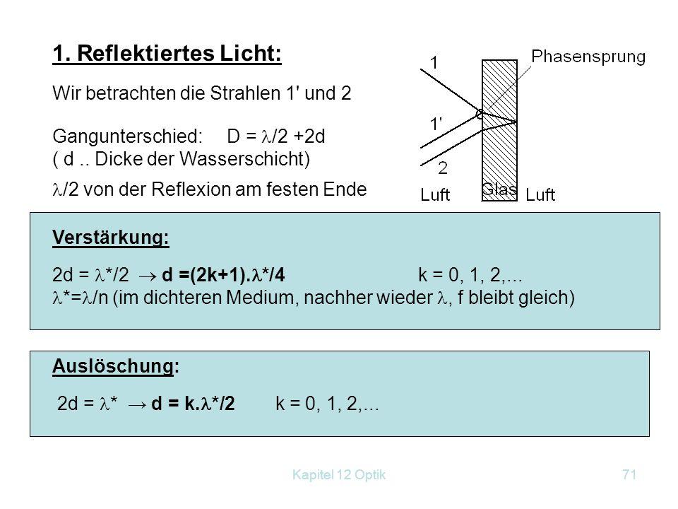 Kapitel 12 Optik70 12.6.1.1 Interferenz an dünnen Schichten: 1. Beleuchtung mit monochro- matischem Licht: Versuch: 2. Beleuchtung mit weißem Licht. E