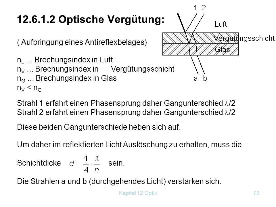 Kapitel 12 Optik72 2. Durchgehendes Licht Wir betrachten die Strahlen 1'' und 2'' D = 2d Es gibt keinen Phasensprung Verstärkung: 2d = * → d = k∙ */2