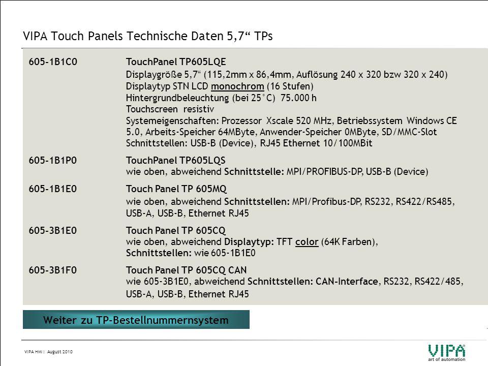 "VIPA HMI| August 2010 VIPA Touch Panels Technische Daten 5,7"" TPs 605-1B1C0TouchPanel TP605LQE Displaygr öß e 5,7 "" (115,2mm x 86,4mm, Aufl ö sung 240"