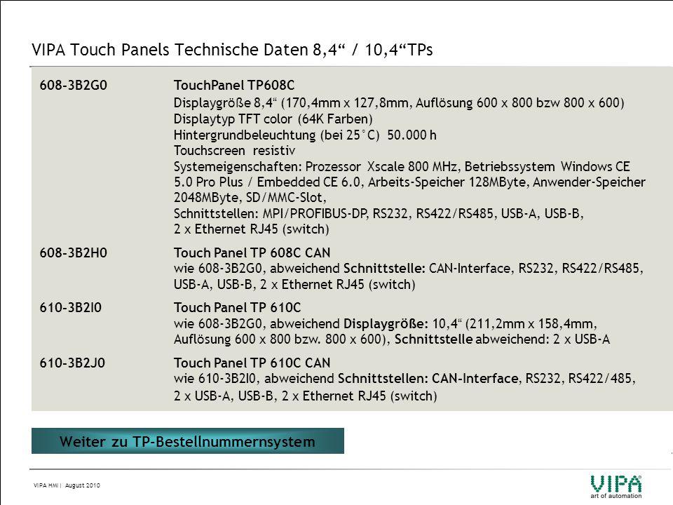 "VIPA HMI| August 2010 VIPA Touch Panels Technische Daten 8,4"" / 10,4""TPs 608-3B2G0TouchPanel TP608C Displaygr öß e 8,4 "" (170,4mm x 127,8mm, Aufl ö su"