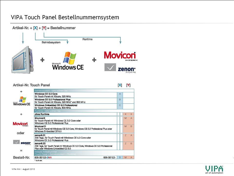 VIPA HMI| August 2010 VIPA Touch Panel Bestellnummernsystem