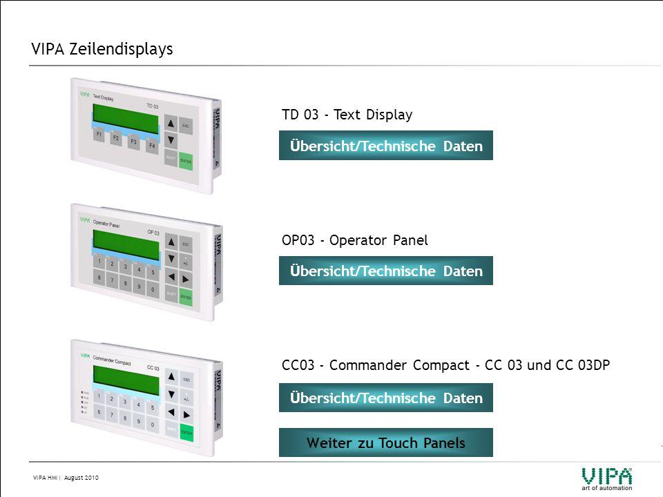 VIPA HMI  August 2010 VIPA Touch Panels Technische Daten HZ 608 HZ608-1BC00Touch Panel VIPA IQ Home Zone HZ608C Displaygr öß e 8,4 (170,4mm x 127,8mm, Aufl ö sung 600 x 800 bzw 800 x 600) Displaytyp TFT color (64K Farben) Hintergrundbeleuchtung (bei 25°C) 50.000 h Touchscreen resistiv Systemeigenschaften: Prozessor Xscale 520 MHz, Betriebssystem Windows CE 5.0, Arbeits-Speicher 64MByte, Anwender-Speicher 0MByte, SD/MMC-Slot Schnittstellen: MPI/PROFIBUS-DP, RS232, RS422/RS485, USB-A, USB-B, 2 x Ethernet RJ45 (switch) Weiter zu TP-Bestellnummernsystem