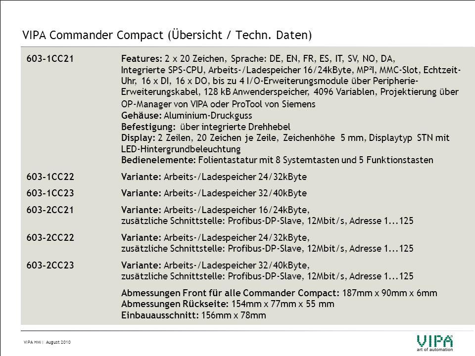 VIPA HMI| August 2010 VIPA Commander Compact (Übersicht / Techn. Daten) 603-1CC21Features: 2 x 20 Zeichen, Sprache: DE, EN, FR, ES, IT, SV, NO, DA, In