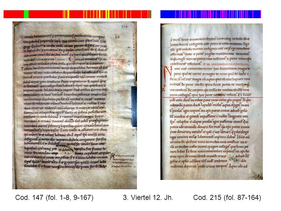Cod. 147 (fol. 1-8, 9-167) 3. Viertel 12. Jh. Cod. 215 (fol. 87-164)