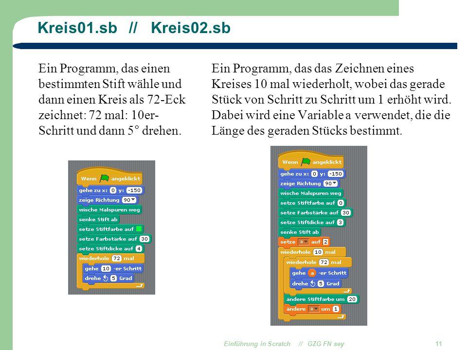 Einführung in Scratch // GZG FN sey11 Kreis01.sb // Kreis02.sb Ein Programm, das einen bestimmten Stift wähle und dann einen Kreis als 72-Eck zeichnet