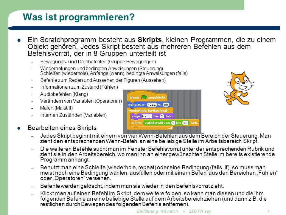 Einführung in Scratch // GZG FN sey4 Was ist programmieren? Ein Scratchprogramm besteht aus Skripts, kleinen Programmen, die zu einem Objekt gehören,