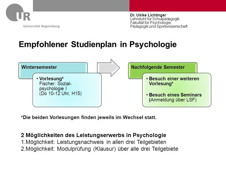 Empfohlener Studienplan in Psychologie Wintersemester Vorlesung* Fischer: Sozial- psychologie I (Do 10-12 Uhr, H15) Nachfolgende Semester Besuch einer
