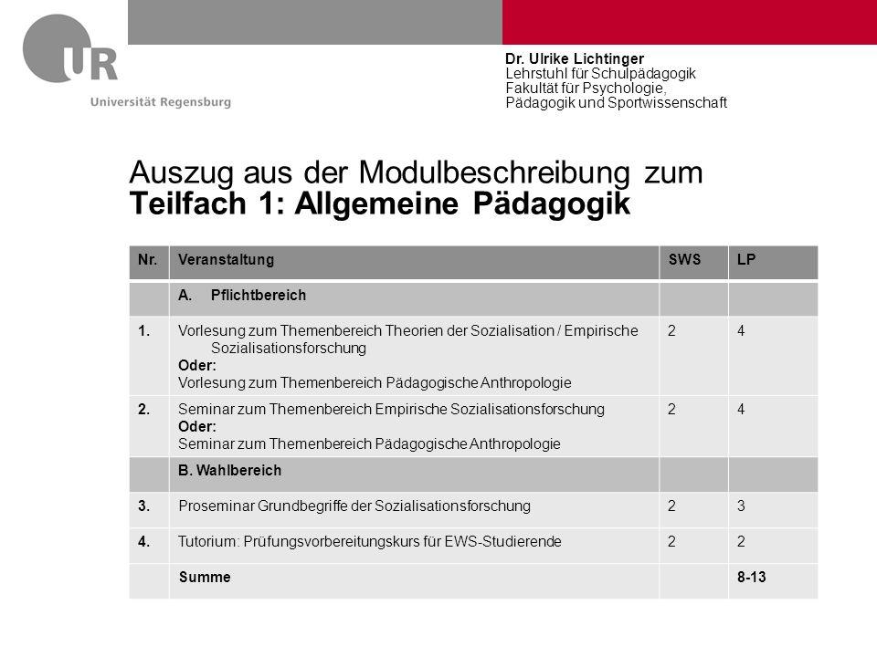 Auszug aus der Modulbeschreibung zum Teilfach 1: Allgemeine Pädagogik Nr.VeranstaltungSWSLP A.Pflichtbereich 1.Vorlesung zum Themenbereich Theorien de