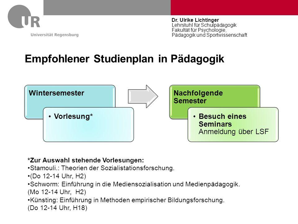 Empfohlener Studienplan in Pädagogik Wintersemester Vorlesung* Nachfolgende Semester Besuch eines Seminars Anmeldung über LSF Dr. Ulrike Lichtinger Le