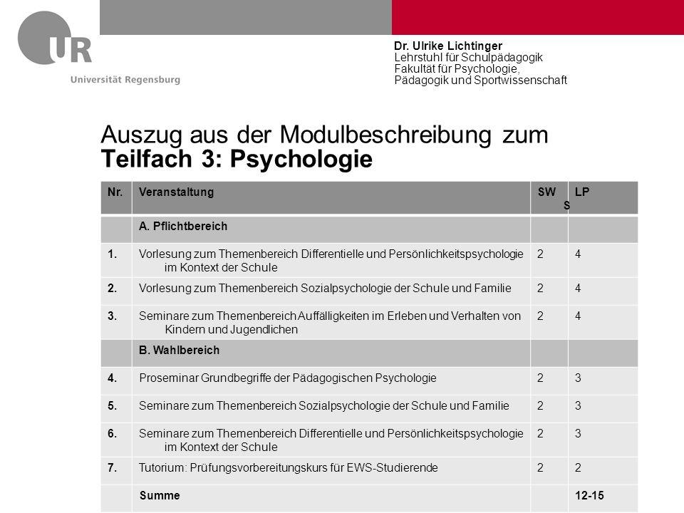 Auszug aus der Modulbeschreibung zum Teilfach 3: Psychologie Nr.VeranstaltungSW S LP A. Pflichtbereich 1.Vorlesung zum Themenbereich Differentielle un