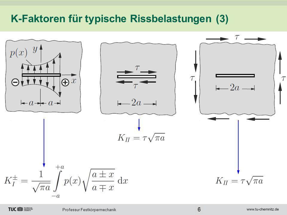 Professur Festkörpermechanik K-Faktoren für typische Rissbelastungen (4) 7