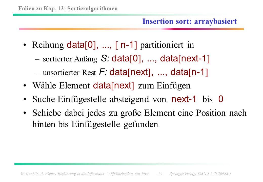 Folien zu Kap. 12: Sortieralgorithmen W. Küchlin, A. Weber: Einführung in die Informatik – objektorientiert mit Java -19- Springer-Verlag, ISBN 3-540-