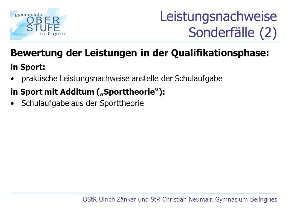 Leistungsnachweise Sonderfälle (2) OStR Ulrich Zänker und StR Christian Neumair, Gymnasium Beilngries Bewertung der Leistungen in der Qualifikationsph