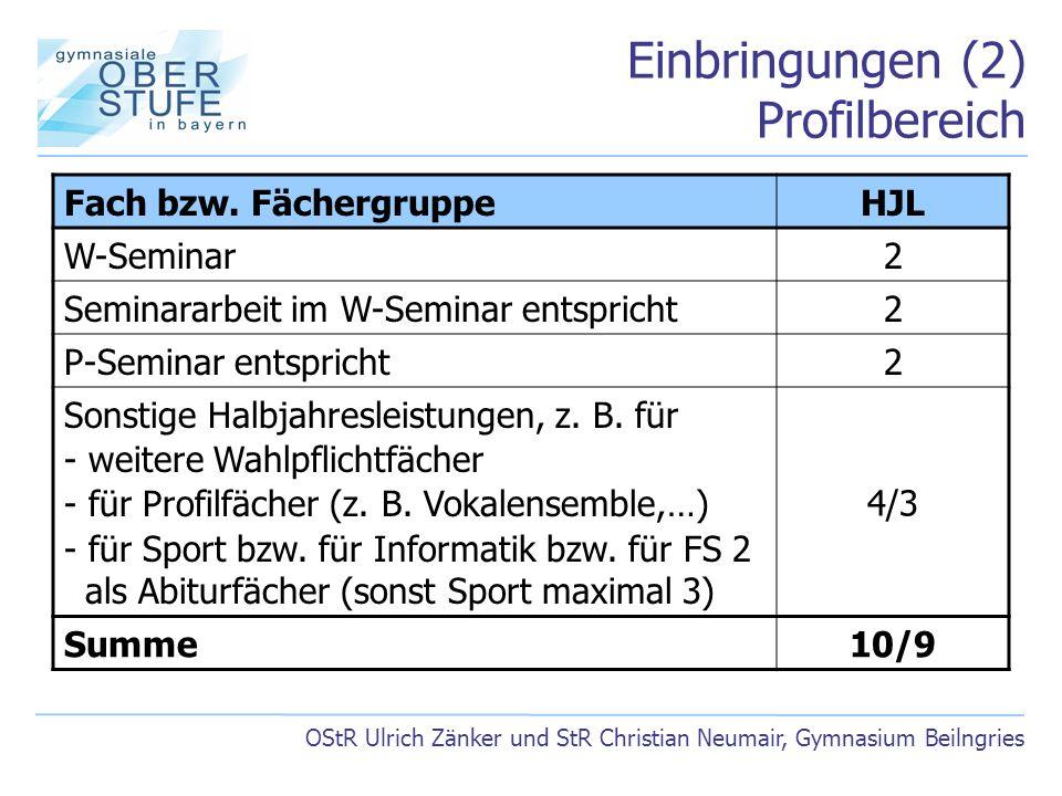 Einbringungen (2) Profilbereich OStR Ulrich Zänker und StR Christian Neumair, Gymnasium Beilngries Fach bzw. FächergruppeHJL W-Seminar2 Seminararbeit