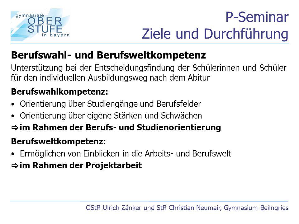 P-Seminar Ziele und Durchführung OStR Ulrich Zänker und StR Christian Neumair, Gymnasium Beilngries Berufswahl- und Berufsweltkompetenz Unterstützung