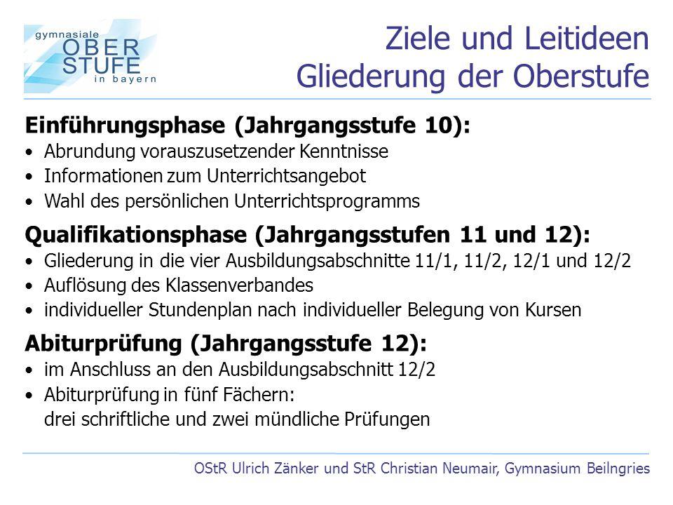Ziele und Leitideen Gliederung der Oberstufe OStR Ulrich Zänker und StR Christian Neumair, Gymnasium Beilngries Einführungsphase (Jahrgangsstufe 10):