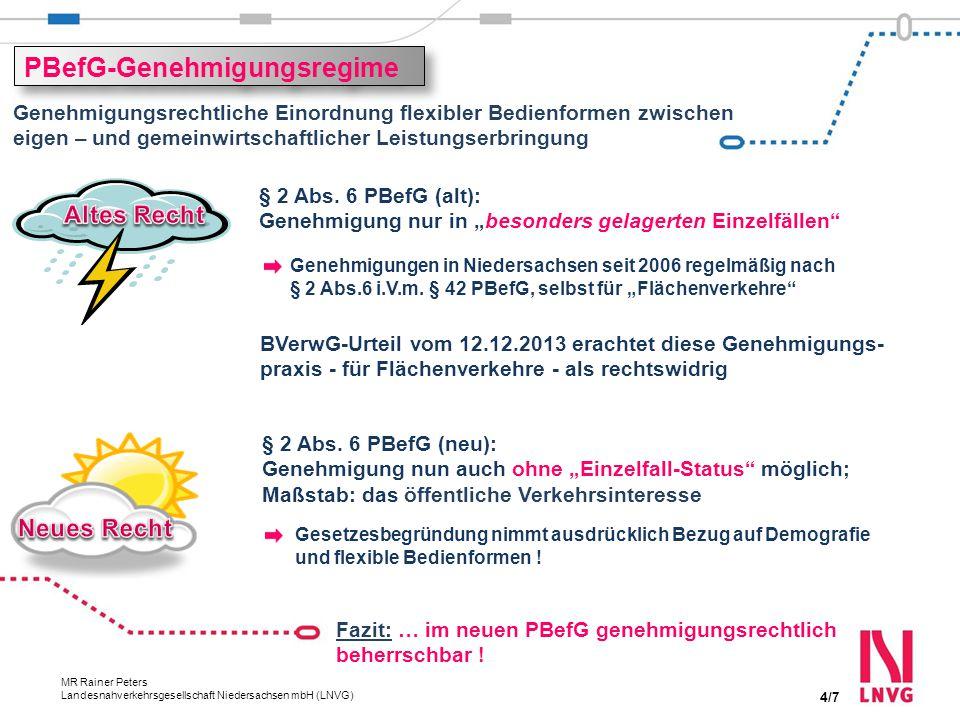 Autor, Abteilung 20.11.2014 MR Rainer Peters Landesnahverkehrsgesellschaft Niedersachsen mbH (LNVG) Flexible Bedienformen Verlustausgleich bleibt notwendig Kostendeckung 20 – 50 Prozent Gem.