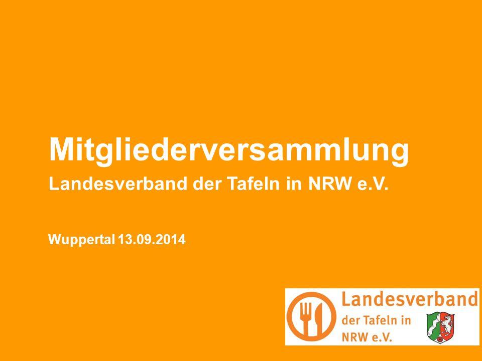 Bufdi-Seminar 15.05.2013 BUFDI-Seminar Berlin 1 Mitgliederversammlung Landesverband der Tafeln in NRW e.V. Wuppertal 13.09.2014