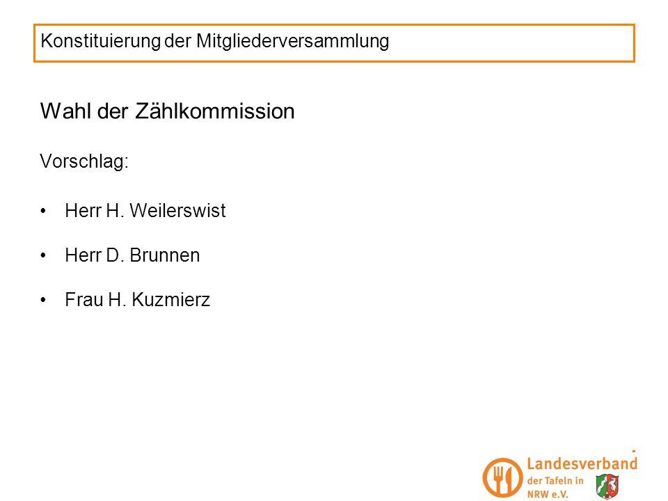 Konstituierung der Mitgliederversammlung Wahl der Zählkommission Vorschlag: Herr H. Weilerswist Herr D. Brunnen Frau H. Kuzmierz