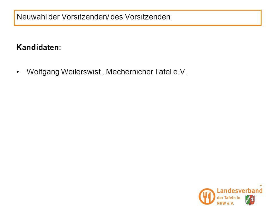 Neuwahl der Vorsitzenden/ des Vorsitzenden Kandidaten: Wolfgang Weilerswist, Mechernicher Tafel e.V.