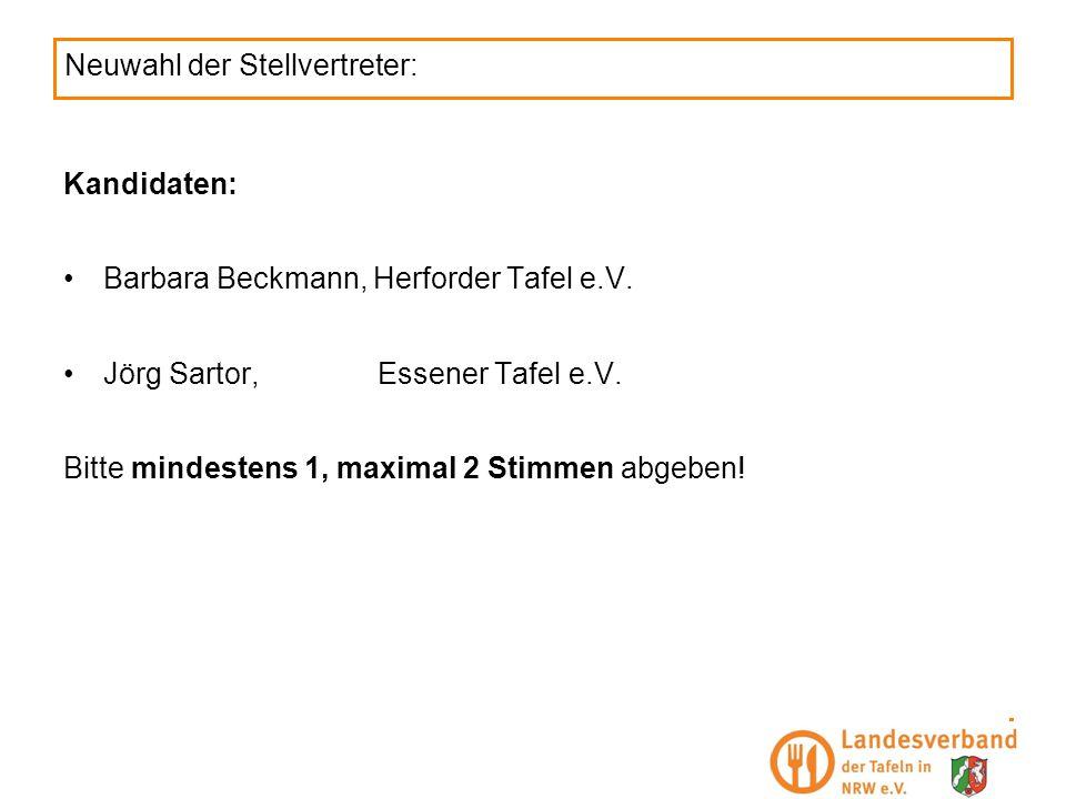 Neuwahl der Stellvertreter: Kandidaten: Barbara Beckmann, Herforder Tafel e.V. Jörg Sartor,Essener Tafel e.V. Bitte mindestens 1, maximal 2 Stimmen ab