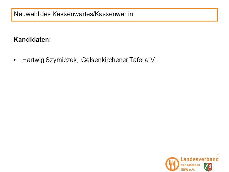 Neuwahl des Kassenwartes/Kassenwartin: Kandidaten: Hartwig Szymiczek,Gelsenkirchener Tafel e.V.