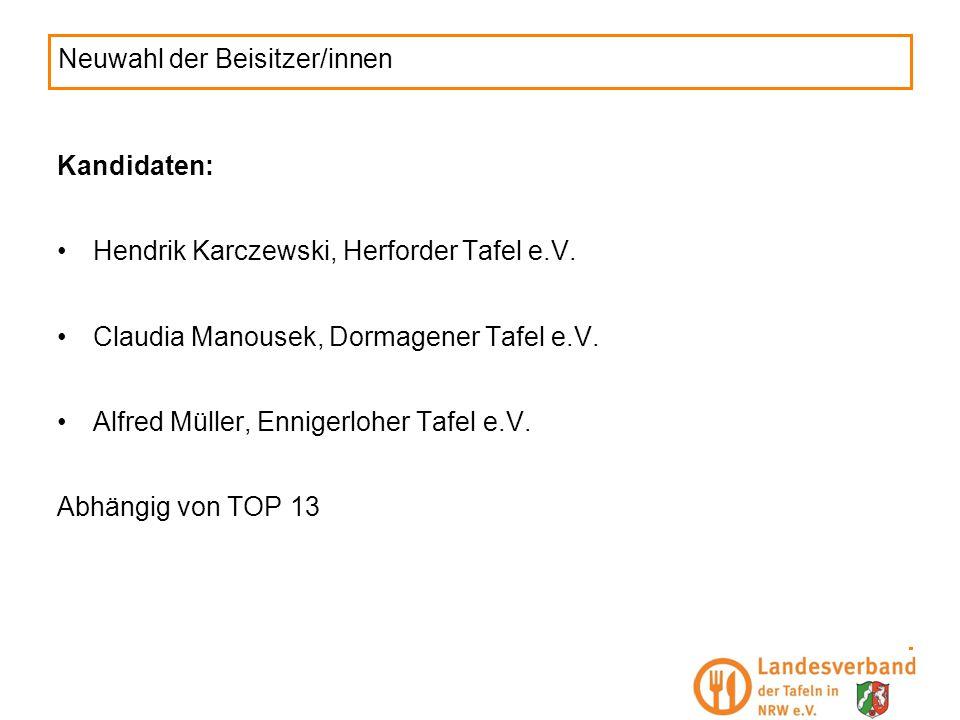Neuwahl der Beisitzer/innen Kandidaten: Hendrik Karczewski, Herforder Tafel e.V. Claudia Manousek, Dormagener Tafel e.V. Alfred Müller, Ennigerloher T