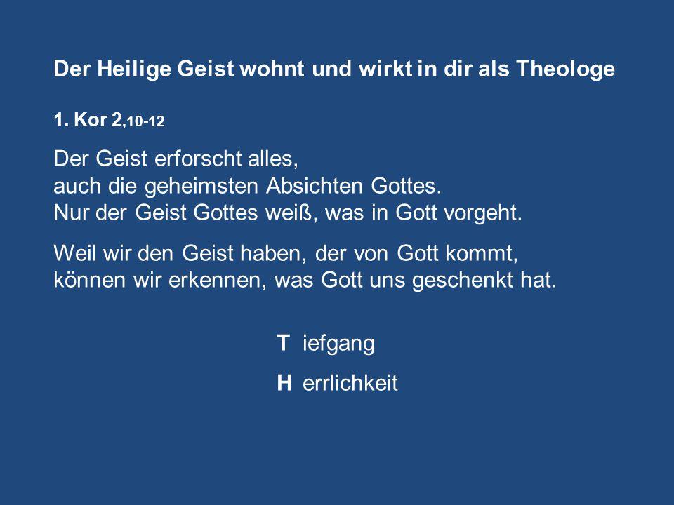 Der Heilige Geist wohnt und wirkt in dir als Theologe 1.