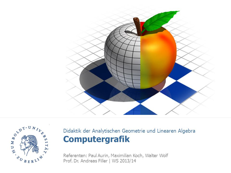 HU Berlin   Computergrafik   Referenten: Paul Aurin, Maximilian Koch, Walter Wolf 2 Gliederung 1.Grundlagen: Raster- und Vektorgrafiken (665) 2.Programm I: Context Free Art (1450) 2D 1.Programm II: POV-Ray (1370) 2.Programm III: GeoGebra 3D (700) 3D 1.Didaktische Facetten (415) 2.Diskussion (800) 