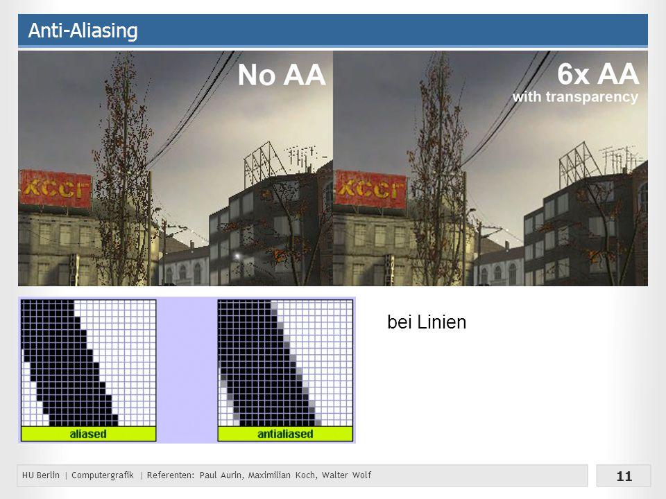 HU Berlin | Computergrafik | Referenten: Paul Aurin, Maximilian Koch, Walter Wolf 11 Anti-Aliasing bei Linien