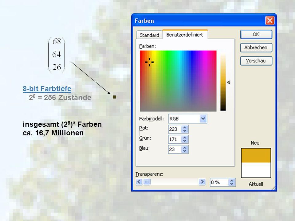 HU Berlin | Computergrafik | Referenten: Paul Aurin, Maximilian Koch, Walter Wolf 5 8-bit Farbtiefe 2 8 = 256 Zustände insgesamt (2 8 )³ Farben ca. 16