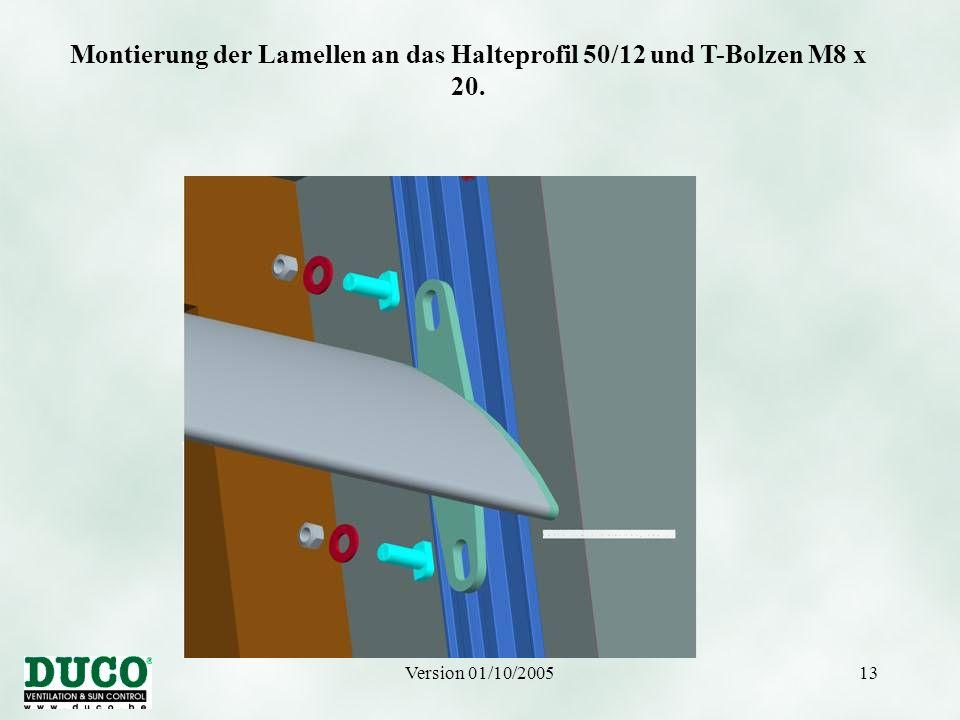 Version 01/10/200513 Montierung der Lamellen an das Halteprofil 50/12 und T-Bolzen M8 x 20.
