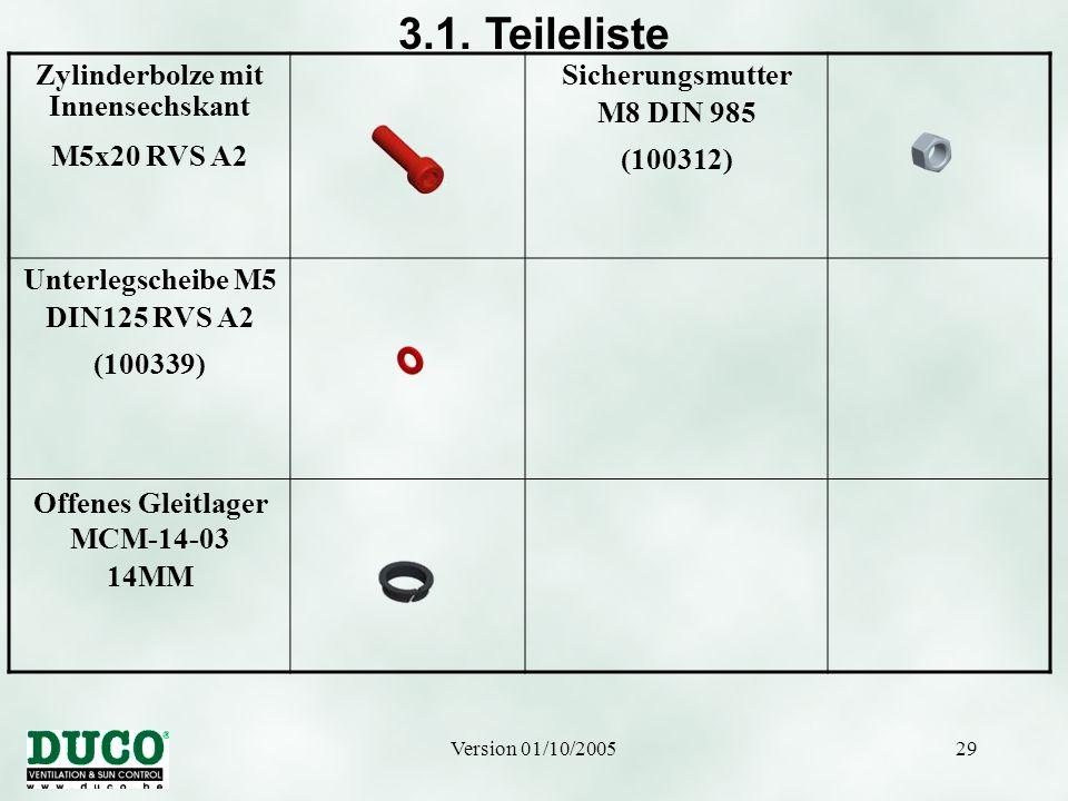Version 01/10/200529 3.1. Teileliste Zylinderbolze mit Innensechskant M5x20 RVS A2 Sicherungsmutter M8 DIN 985 (100312) Unterlegscheibe M5 DIN125 RVS