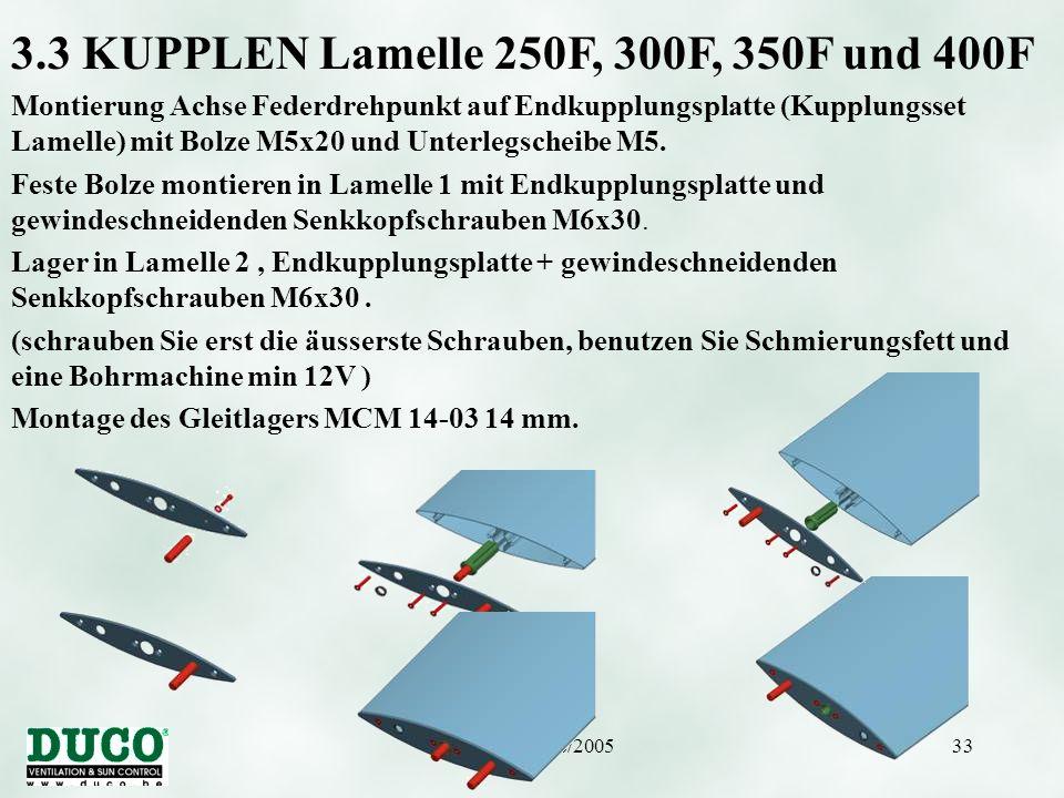 Version 01/10/200533 3.3 KUPPLEN Lamelle 250F, 300F, 350F und 400F Montierung Achse Federdrehpunkt auf Endkupplungsplatte (Kupplungsset Lamelle) mit B