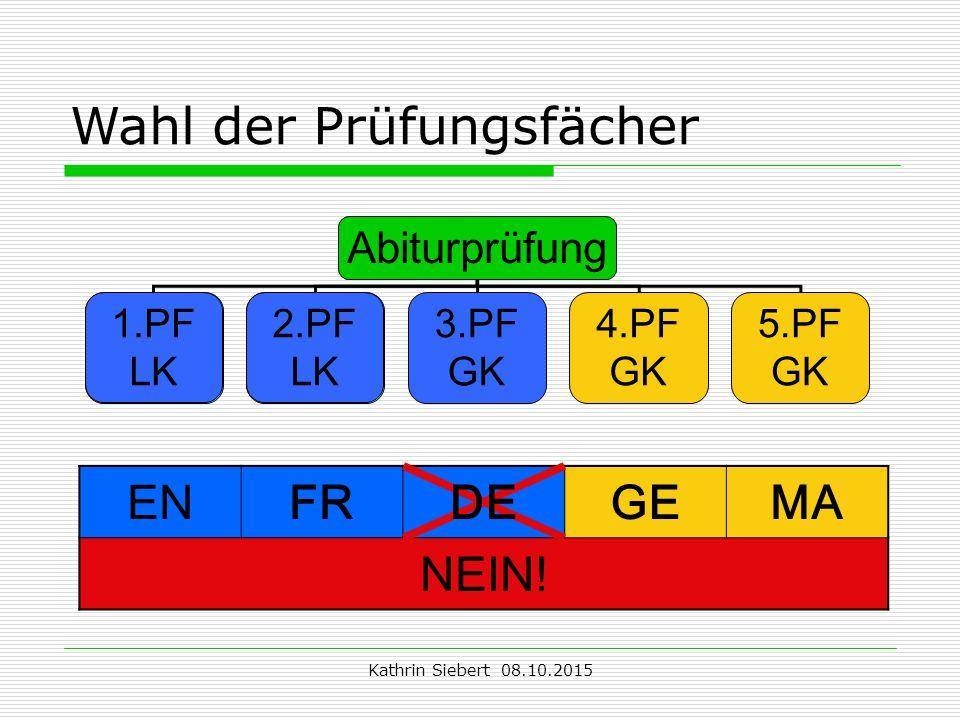 Kathrin Siebert 08.10.2015 Wahl der Prüfungsfächer Abiturprüfung 1.PF LK 2.PF LK 3.PF GK 4.PF GK 5.PF GK 1.PF LK 2.PF LK ENFRDEGEMA NEIN!